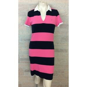 Tommy Hilfiger Polo Dress Pink Black Stripe Medium
